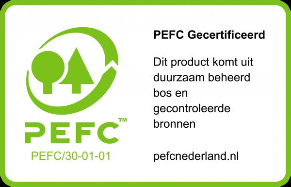 PEFC label voor op een gecertificeerd producte