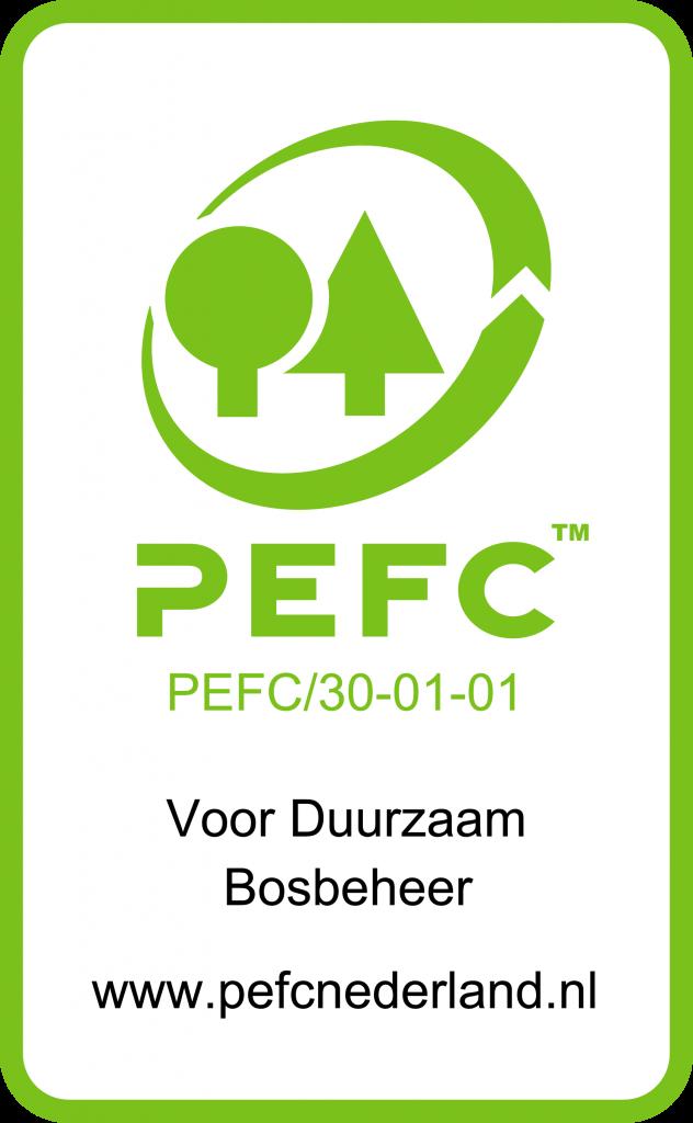 Groen promotioneel label PEFC30-01-01, met kader