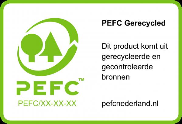 Voorbeeld Groen label voor op een gecertificeerd recycled product PEFCXX-XX-XX, met kader