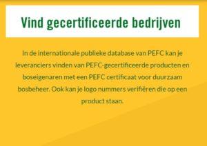 PEFC database, vind gecertificeerde bedrijven