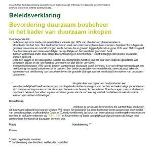 Beleidsverklaring duurzaam bosbeheer